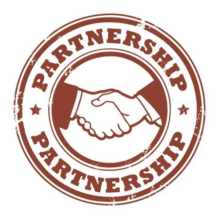 podání ruky: Grunge razítko s malými hvězdami, rukou a slovem partnerství uvnitř