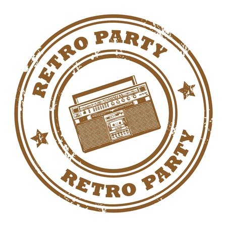 Grunge rubber stamp, with the old radio and text Retro Party written inside Stock Vector - 14169896