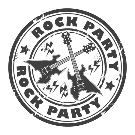 rock guitar: Grunge rubber stamp with the guitar and the words Rock Party written inside the stamp Illustration