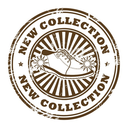 certificated: Grunge rubber stamp with shoe and the word New Collection inside