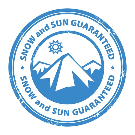 Grunge rubber stamp with mountains and the word Snow and sun guaranteed inside Vector