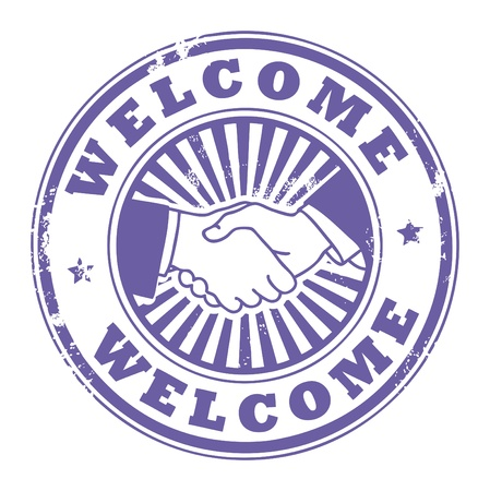 handshaking: Grunge rubber stamp with Handshake and the word Welcome inside