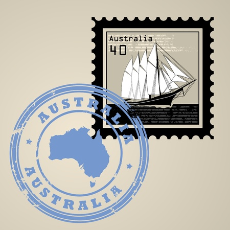 australia stamp: Postage stamp with sailing ship and postmark with text Australia