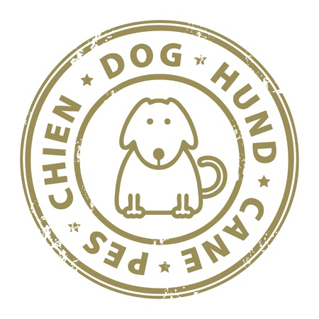 Grunge rubber stamp with dog inside the stamp Vector