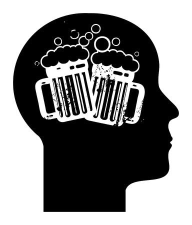 human mind: La mente humana - jarras de cerveza Vectores