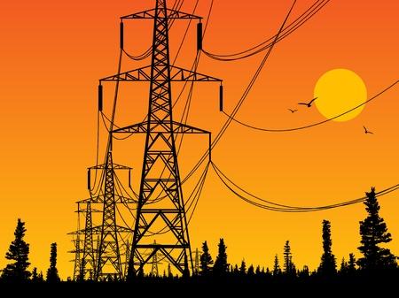 発電機: 電力線と日の出  イラスト・ベクター素材