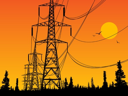 high voltage sign: Electric power lines and sunrise Illustration