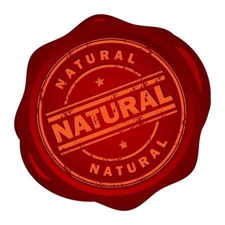Wax seal with small stars and the word Natural inside Vector