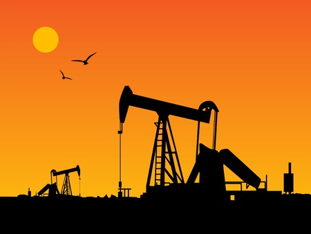 Oil Pump and orange sunset Vector