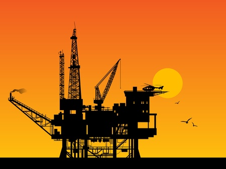 drilling machine: Oil rig in sea and sunrise Illustration