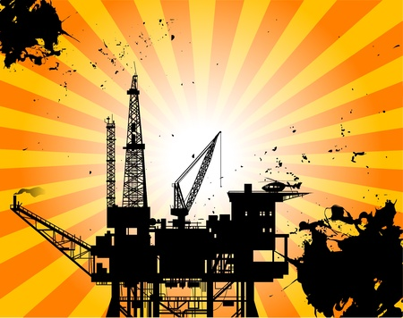 derrick: Oil Platform on abstract background