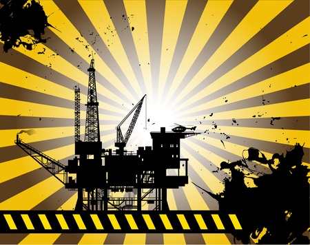 Oil Platform on abstract background Vector
