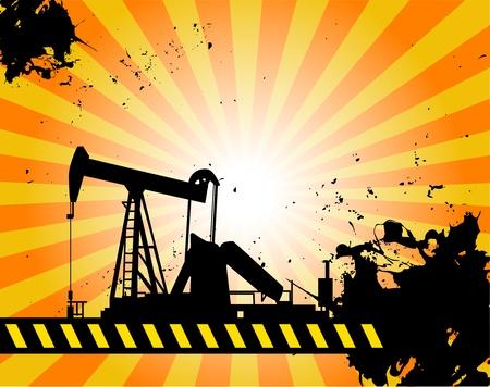 yacimiento petrolero: Bomba de aceite en el fondo abstracto Vectores