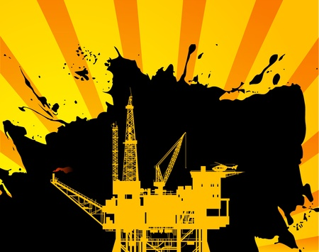 drilling machine: Oil Platform on abstract background
