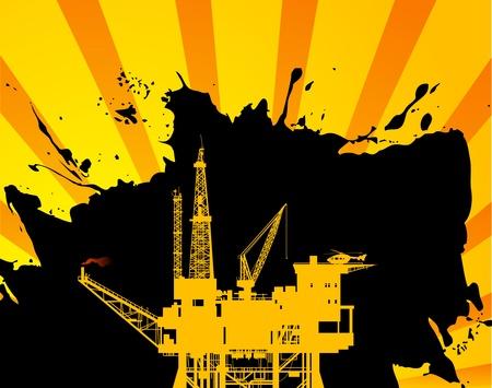 oil pipeline: Plataforma de petr�leo en el fondo abstracto Vectores