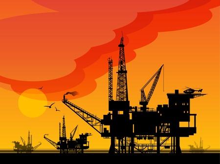 неочищенный: Морской нефтяной буровой платформы Иллюстрация