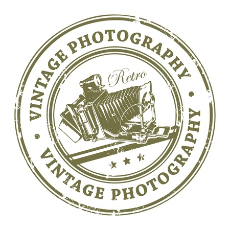 photo equipment: Abstract rubber grunge stamp with old film camera and the word Vintage Photography