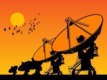 Radio telescopes and sunrise Vector