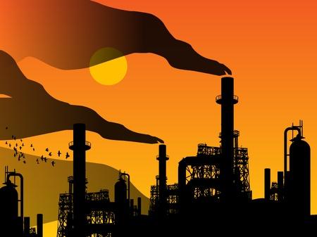 petroleum: F�brica de aceite de la refiner�a y la puesta de sol Vectores