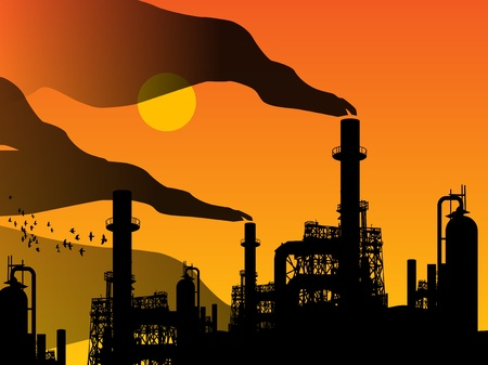 smog: Oil refinery factory and sunset Illustration