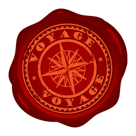 Wax seal with with compass and the text Voyage written inside the stamp Vector