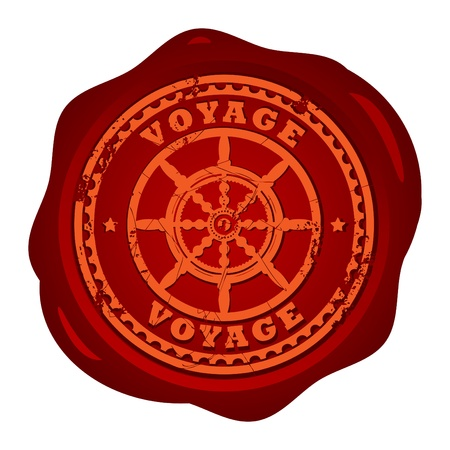 Wax seal with steering wheel and the text Voyage written inside the stamp Vector