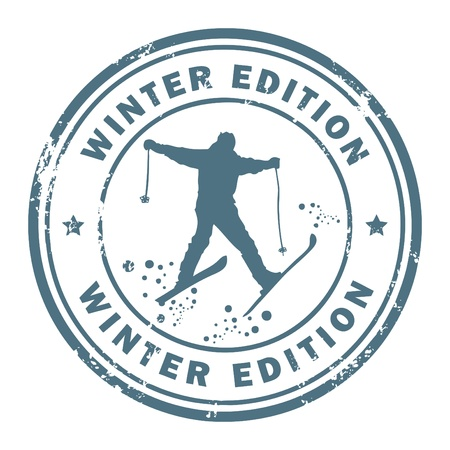 edition: Grunge rubber stamp with the word Winter Edition inside Illustration