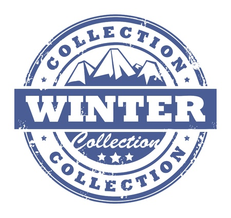 Grunge rubber stamp with mountains and the word Winter Collection inside Vector