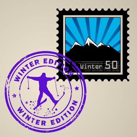 the postmark: Postage stamp with Winter mountain and postmark with text Winter edition Illustration