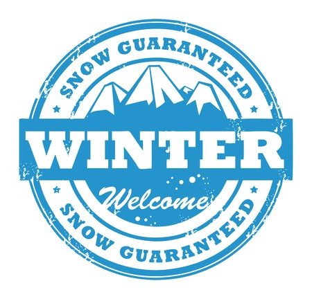 Grunge rubber stamp with mountains and the word Snow guaranteed inside Stock Vector - 14169918