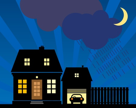 A small cottage in the night rain Stock Vector - 14169948
