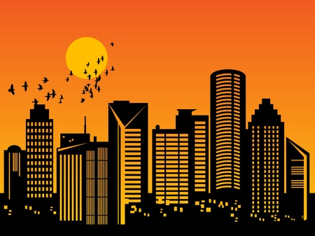 City skyline at sunset Vector