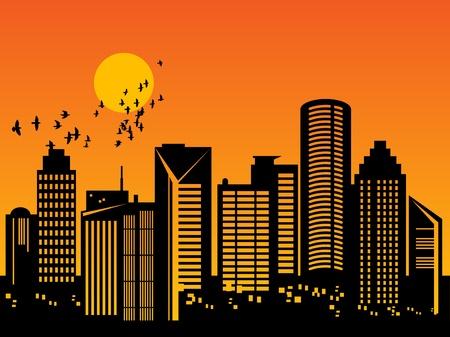 hamilton: City skyline at sunset