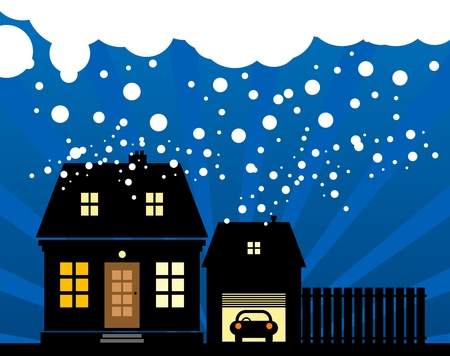 A small cottage in the snow Vector