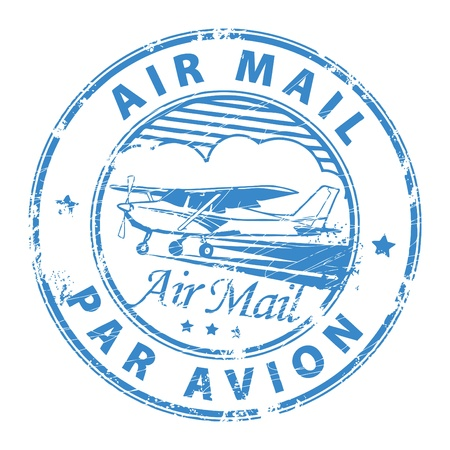 postal office: Grunge rubber stamp with plane and the text air mail, par avion written inside the stamp