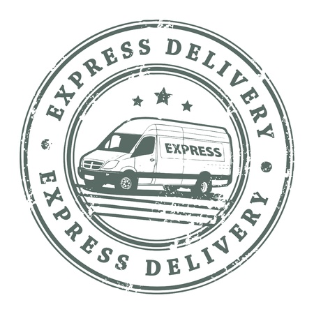 Grunge rubber stamp with a delivery car in the middle and the text express delivery written inside the stamp