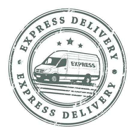 corriere: Grunge timbro di gomma con una macchina di consegna al centro e la consegna del testo scritto all'interno del francobollo Vettoriali