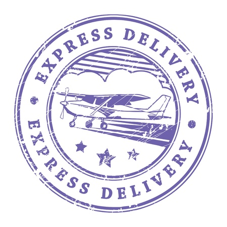 express delivery: Grunge rubber stamp with plane in the middle and the text express delivery written inside the stamp
