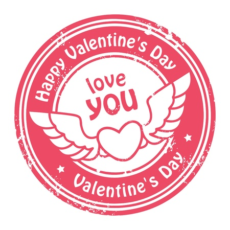 corazon con alas: Grunge sello de goma con el coraz�n, las alas y el texto D�a de San Valent�n feliz s escrito en su interior