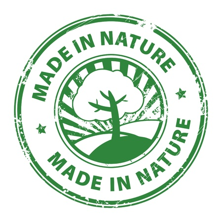 eco notice: Grunge rubber stamp with the words Made in nature inside