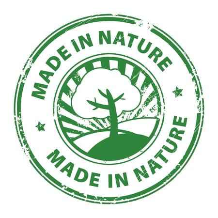 Grunge timbro di gomma con la scritta Made in natura all'interno