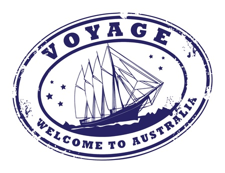 Grunge rubber stamp with sailing ship and the text Voyage - Welcome to Australia written inside the stamp