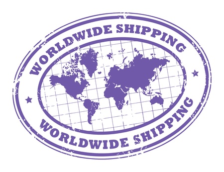 order shipping: Grunge rubber stamp with a world map and the text worldwide shipping written inside the stamp