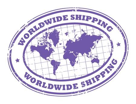negocios internacionales: Grunge sello de caucho con un mapa del mundo y el env�o de texto en todo el mundo por escrito dentro del sello