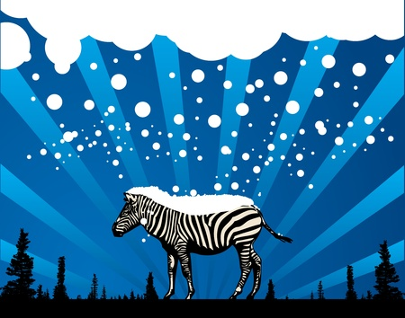 Abstract winter background with zebra silhouette Stock Vector - 14170031