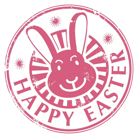 Grunge rubber stamp with bunny and the text Happy Easter written inside Vector