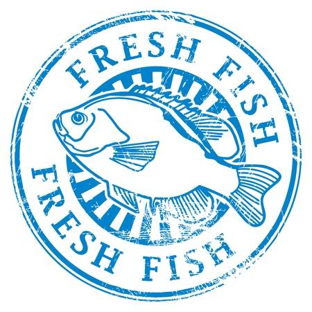 魚の形や単語内に記述された新鮮な魚とグランジ ゴム印