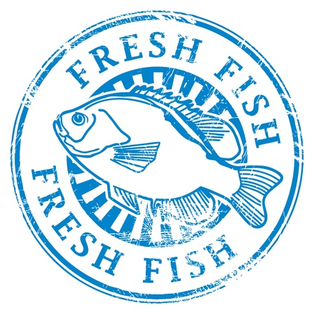 Grunge rubberen stempel met vis vorm en het woord Verse vis geschreven in