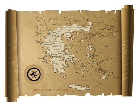 kreta: Altes Papier Griechenland Karte