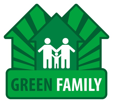 body outline: Green family sign